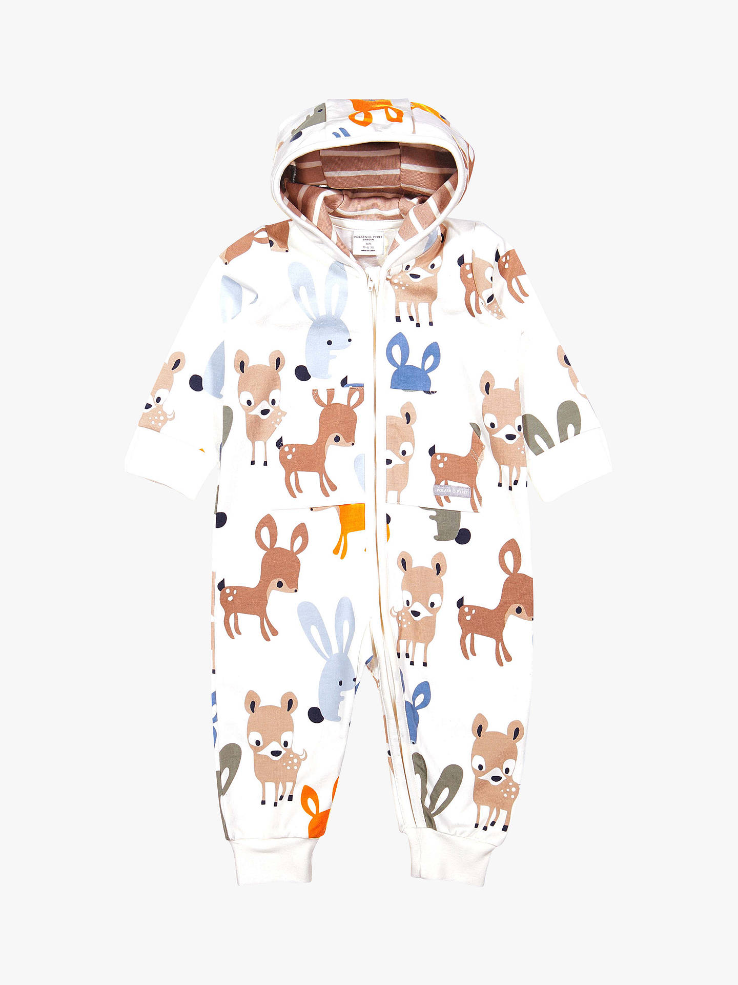 BuyPolarn O. Pyret Baby Organic Animal Print Sleepsuit, Neutral, 0-1 month Online at johnlewis.com