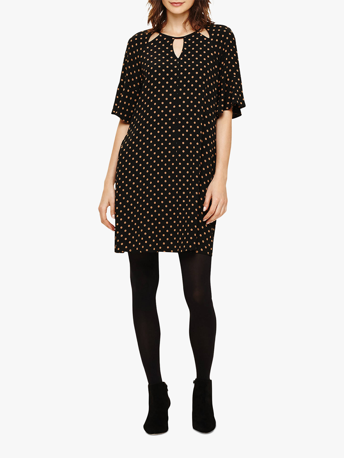 5f245bc08ff7 Buy Phase Eight Zoe Spot Shift Dress, Black/Camel, 8 Online at johnlewis ...