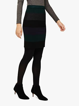 Phase Eight Cecelia Tri-Toned Knitted Pencil Skirt, Forest