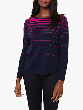 Phase Eight Terza Stripe Swing Print Jumper, Navy/Magenta
