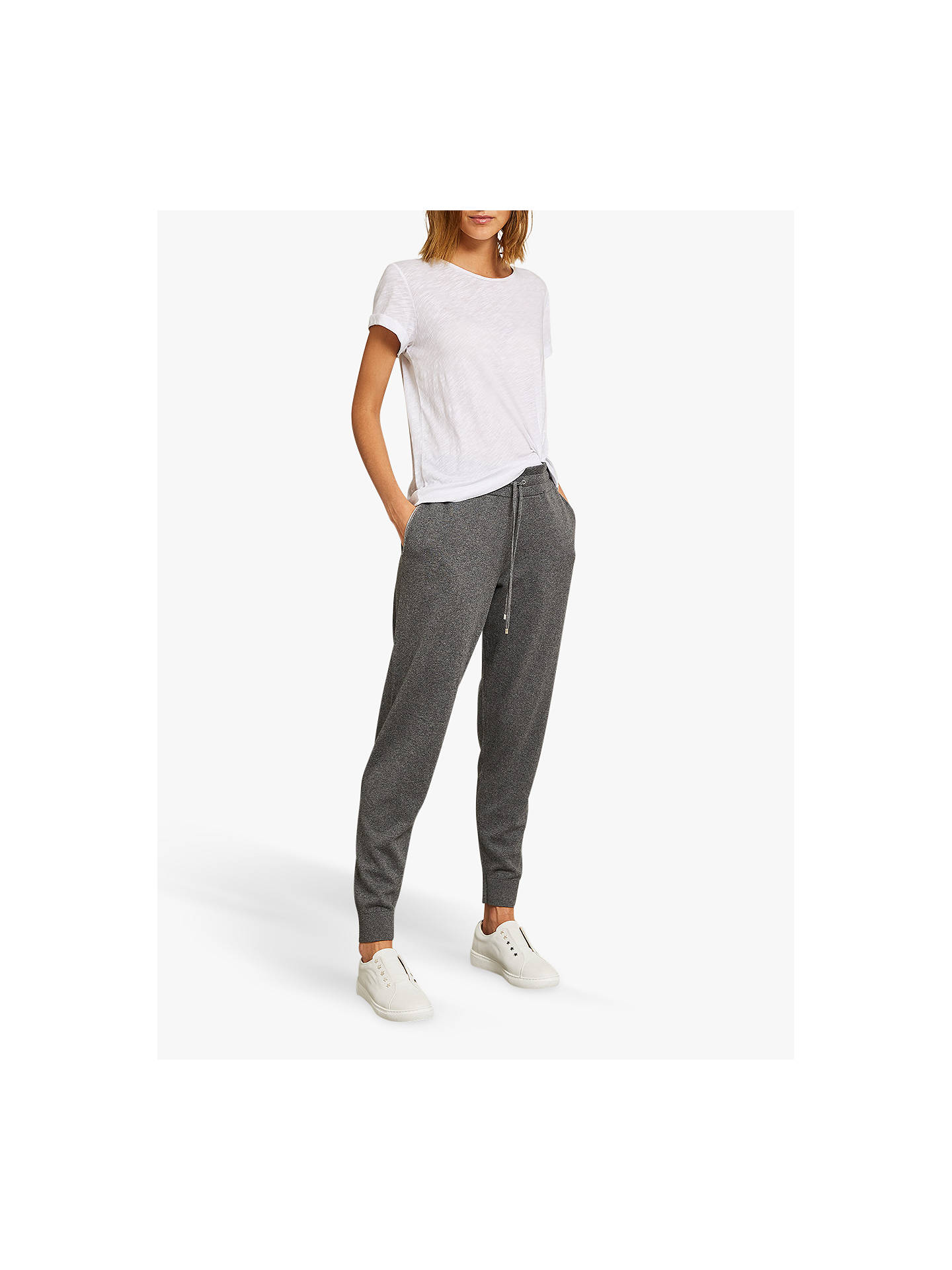 BuyMint Velvet Cotton Cashmere Jogger, Dark Grey, 14R Online at johnlewis.com