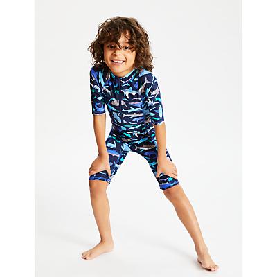 John Lewis & Partners Boys' Shark Print UV SunPro, Blue