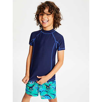 John Lewis & Partners Boys' Solid Short Sleeve Rash Vest, Blue