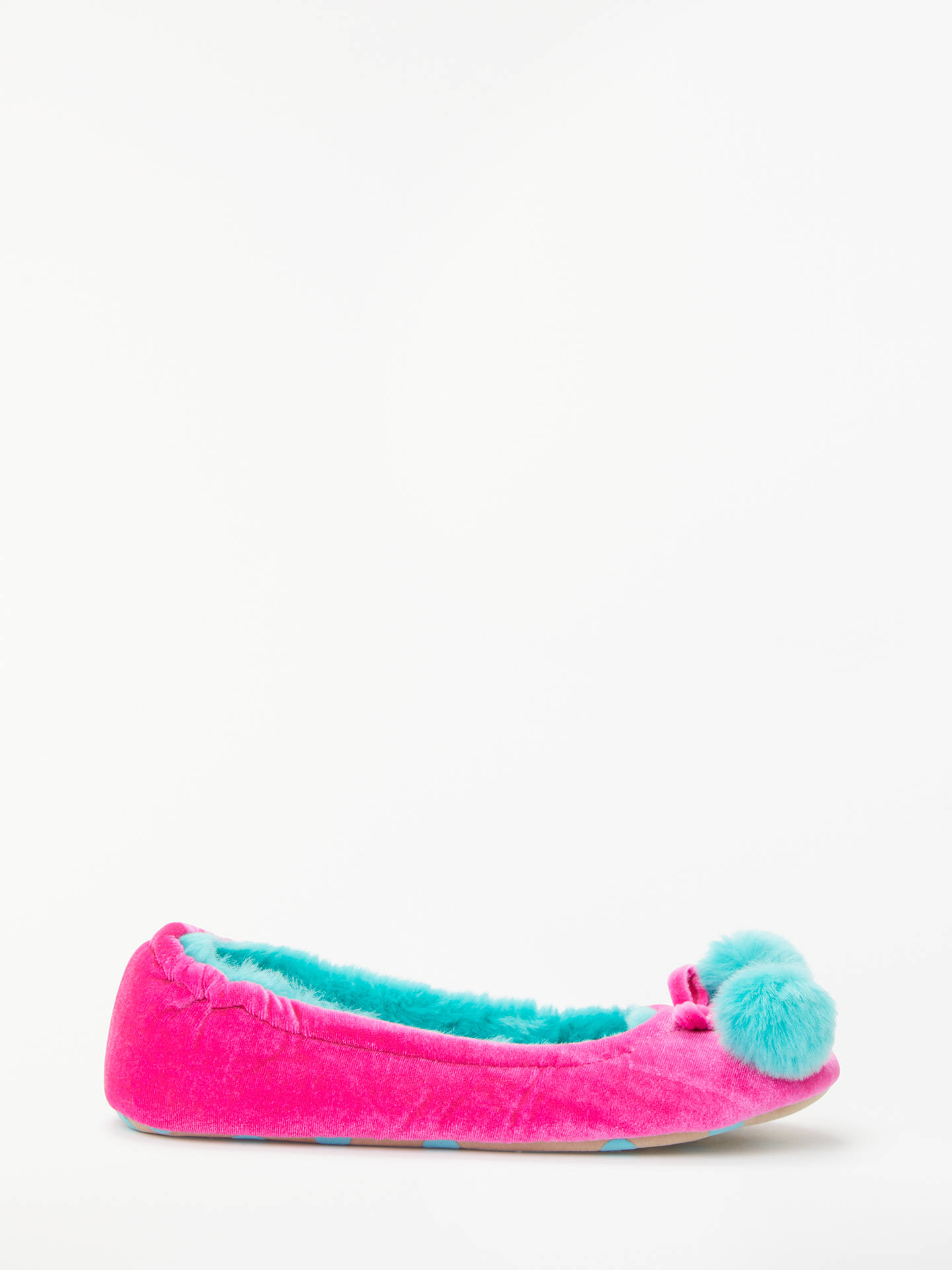 BuyBoden Velvet Pom Pom Slippers, Pop Pansy, 6 Online at johnlewis.com