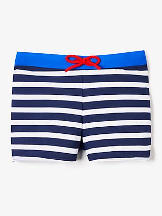 John Lewis & Partners Boys' Stripe Print Swimming Trunks, Blue