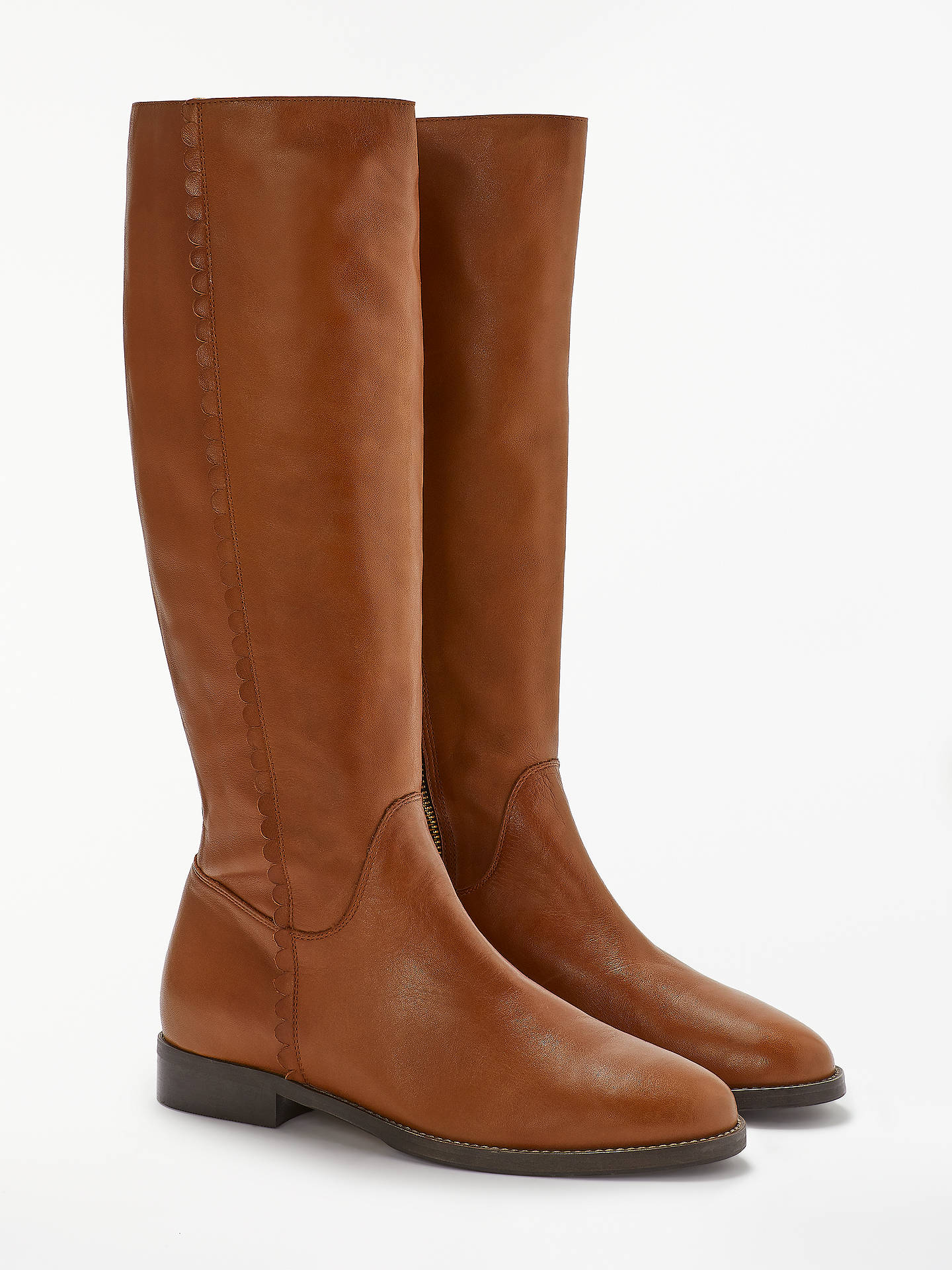 Buy Boden Malvern Block Heel Knee High Boots, Tan Leather, 5 Online at johnlewis.com