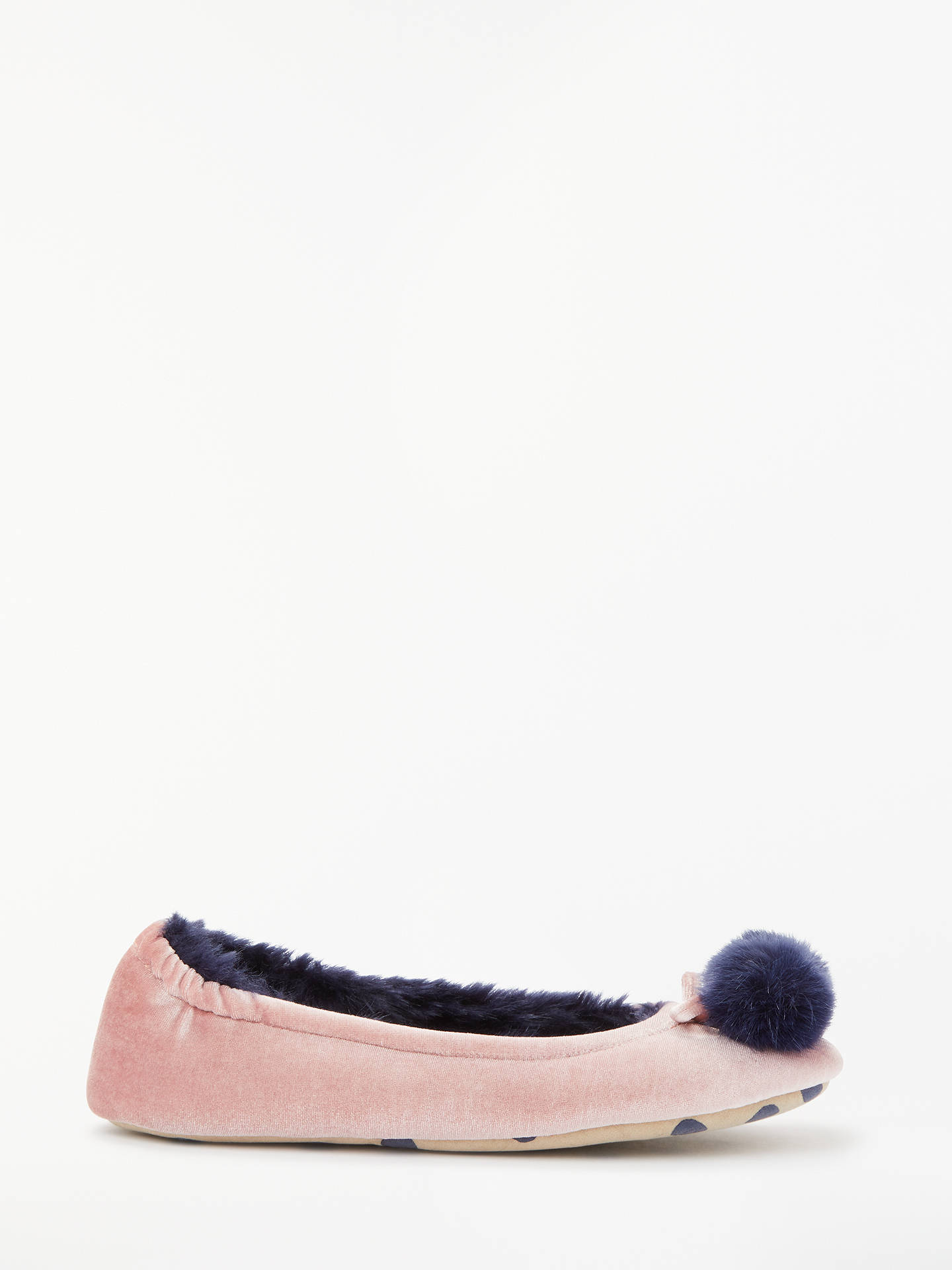 BuyBoden Pompom Fluffy Ballerina Slippers, Milkshake, 8 Online at johnlewis.com