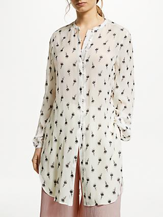 Modern Rarity Clipped Jacquard Blouse, White