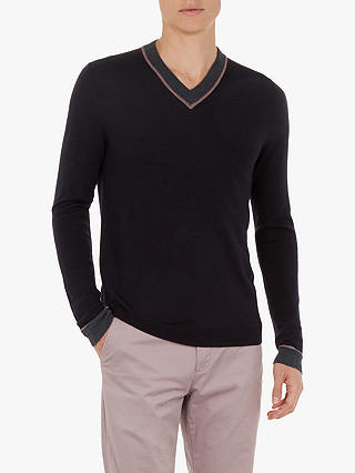 Buy Ted Baker COOOKIE V-Neck Jumper, Blue Navy, S Online at johnlewis.com