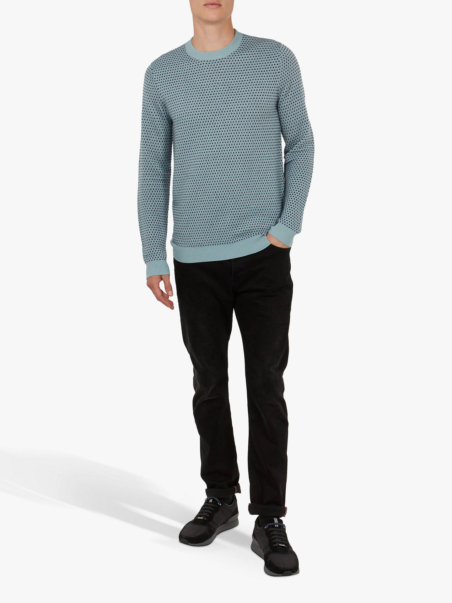 Buy Ted Baker Malttea Textured Crew Neck Jumper, Blue Light, 2 Online at johnlewis.com