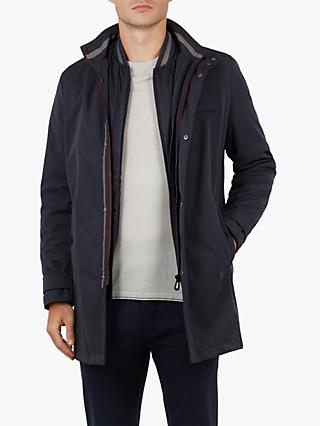 Ted Baker Tomme Mac Coat With Removable Inner, Blue Navy