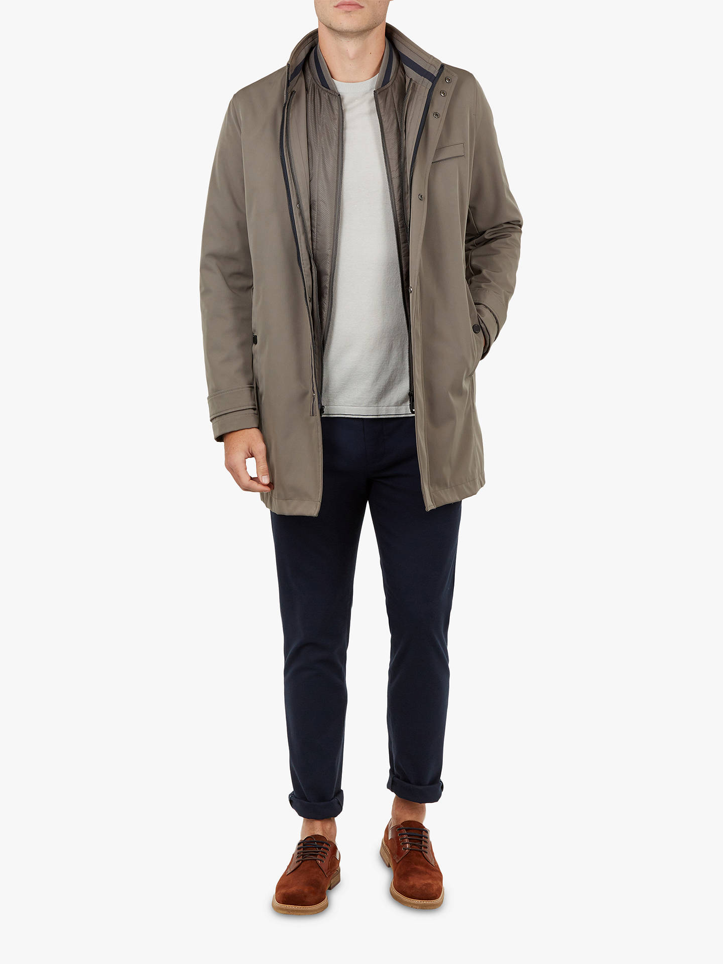 BuyTed Baker Tomme Mac Coat With Removable Inner, Grey Mid, 2 Online at johnlewis.com