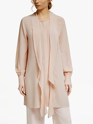 Modern Rarity Silk Blend Ruffle Tunic Top, Pink