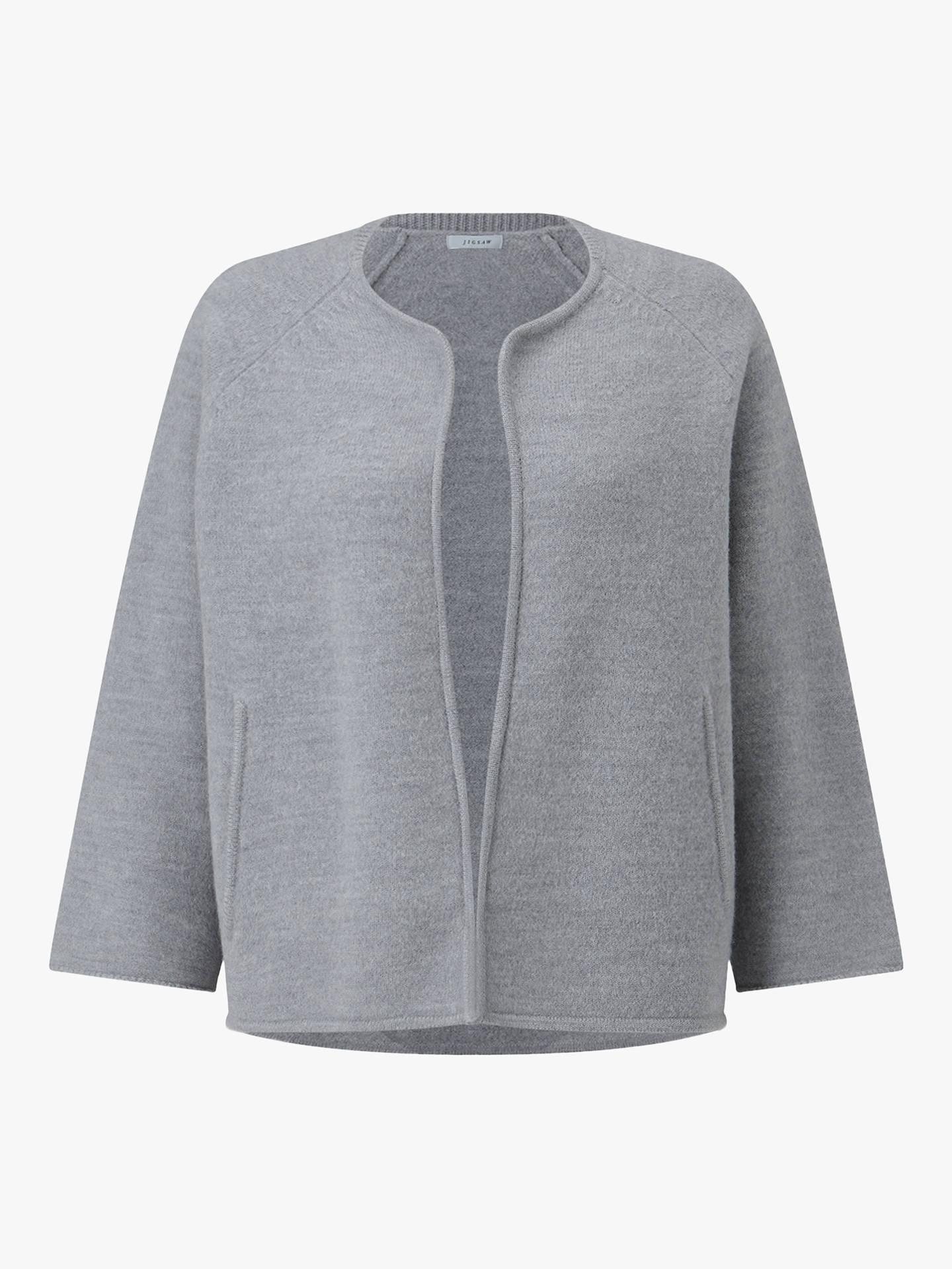 Jigsaw Boiled Wool Side Zip Jacket Womens New Grey Pale Grey