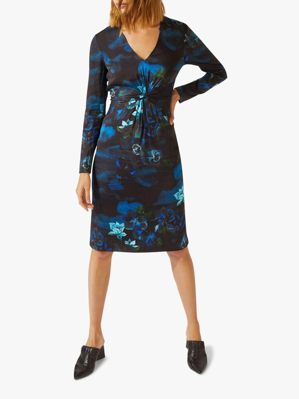Jigsaw Camo Floral Dress Womens New Blue Navy