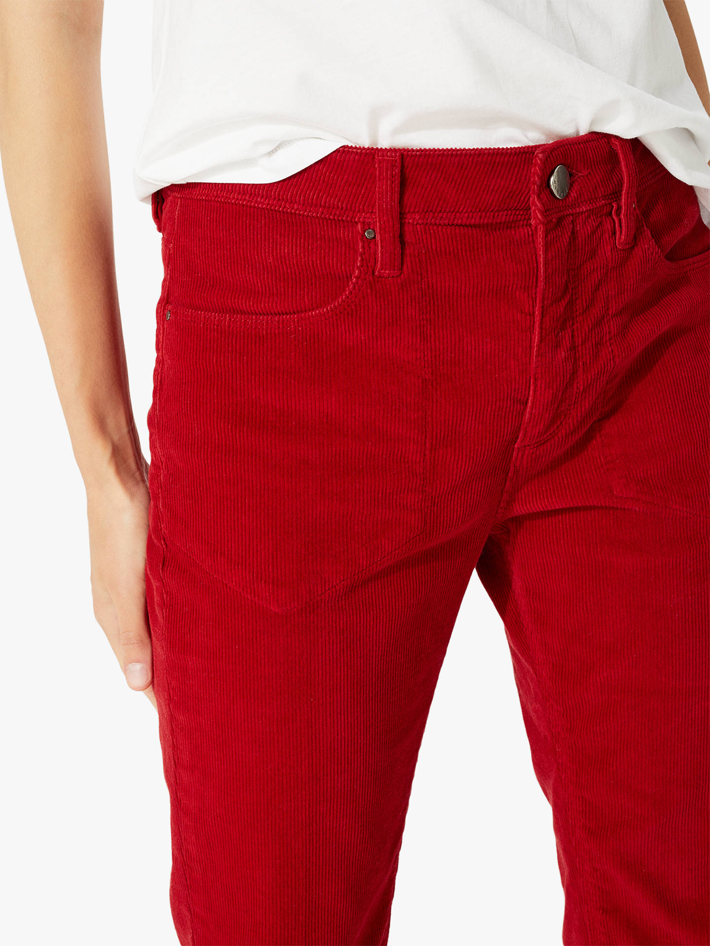 Buy Jigsaw Westbourne Kick Flare Cord Jeans, Red, 24 Online at johnlewis.com