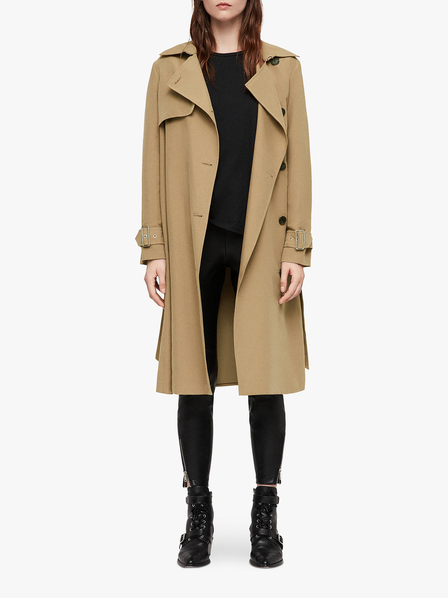 BuyAllSaints Myla Trench Coat, Tawny Brown, L Online at johnlewis.com