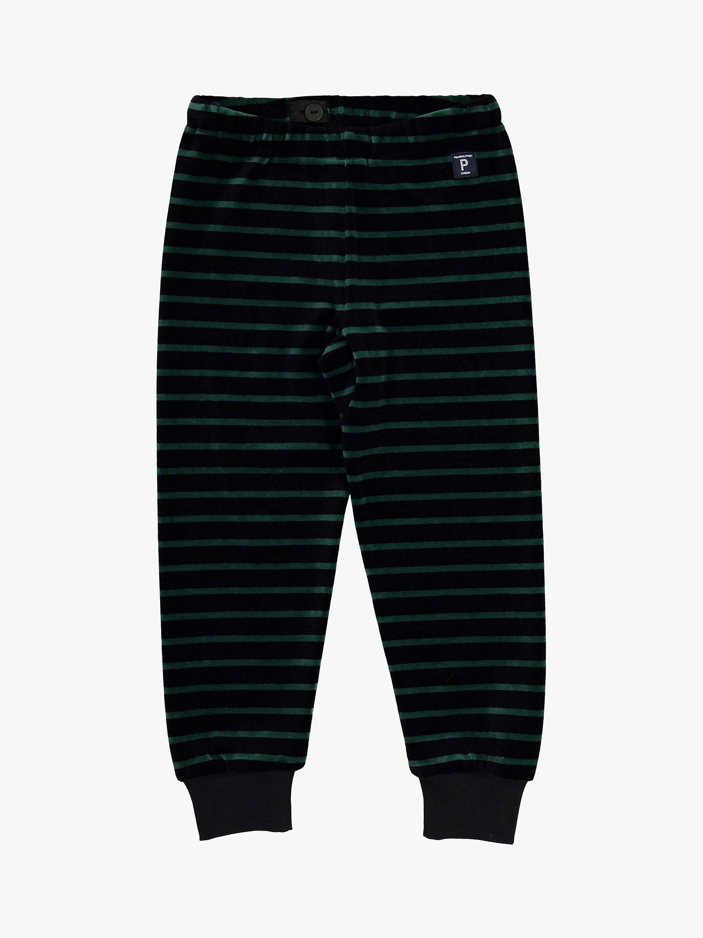 BuyPolarn O. Pyret Children's Stripe Velour Trousers, Black, 3-4 years Online at johnlewis.com