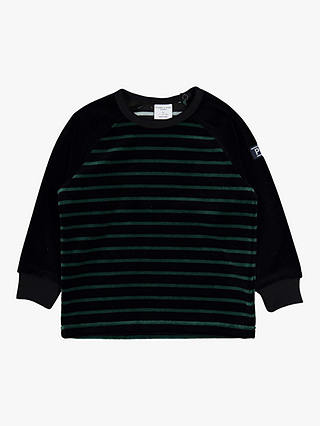 Buy Polarn O. Pyret Baby Stripe Velour Top, Black, 6-9 months Online at johnlewis.com