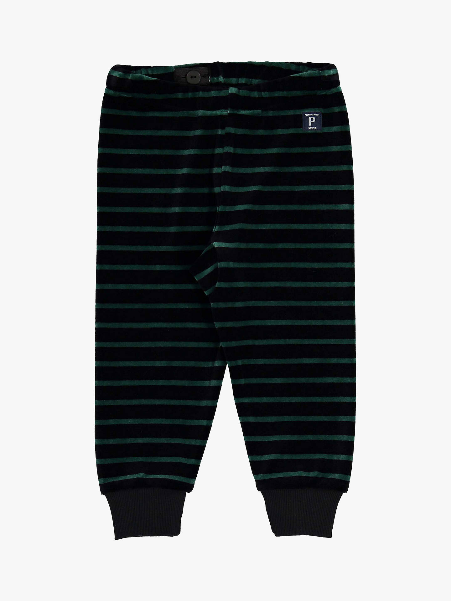 BuyPolarn O. Pyret Baby Stripe Velour Trousers, Black, 6-9 months Online at johnlewis.com