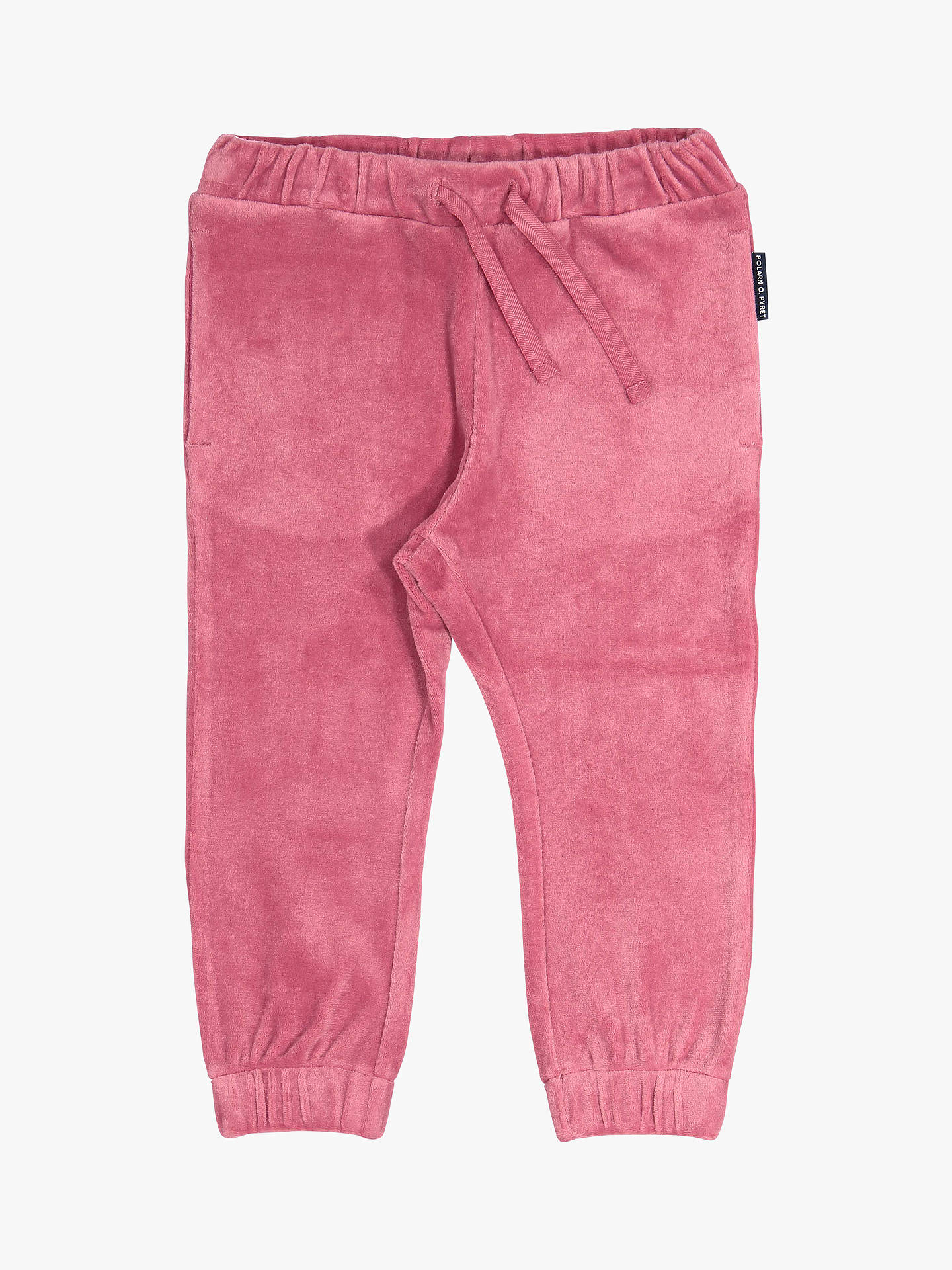 BuyPolarn O. Pyret Baby Velour Trousers, Pink, 6-9 months Online at johnlewis.com