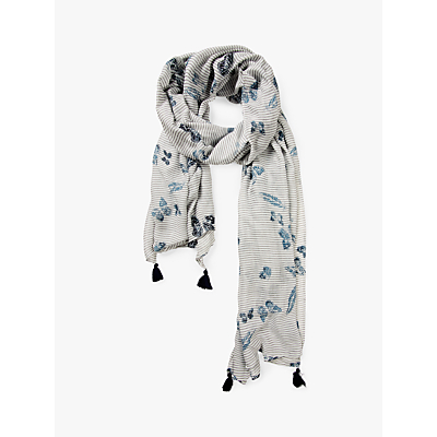 Fat Face Butterfly Sequin Scarf, Ivory