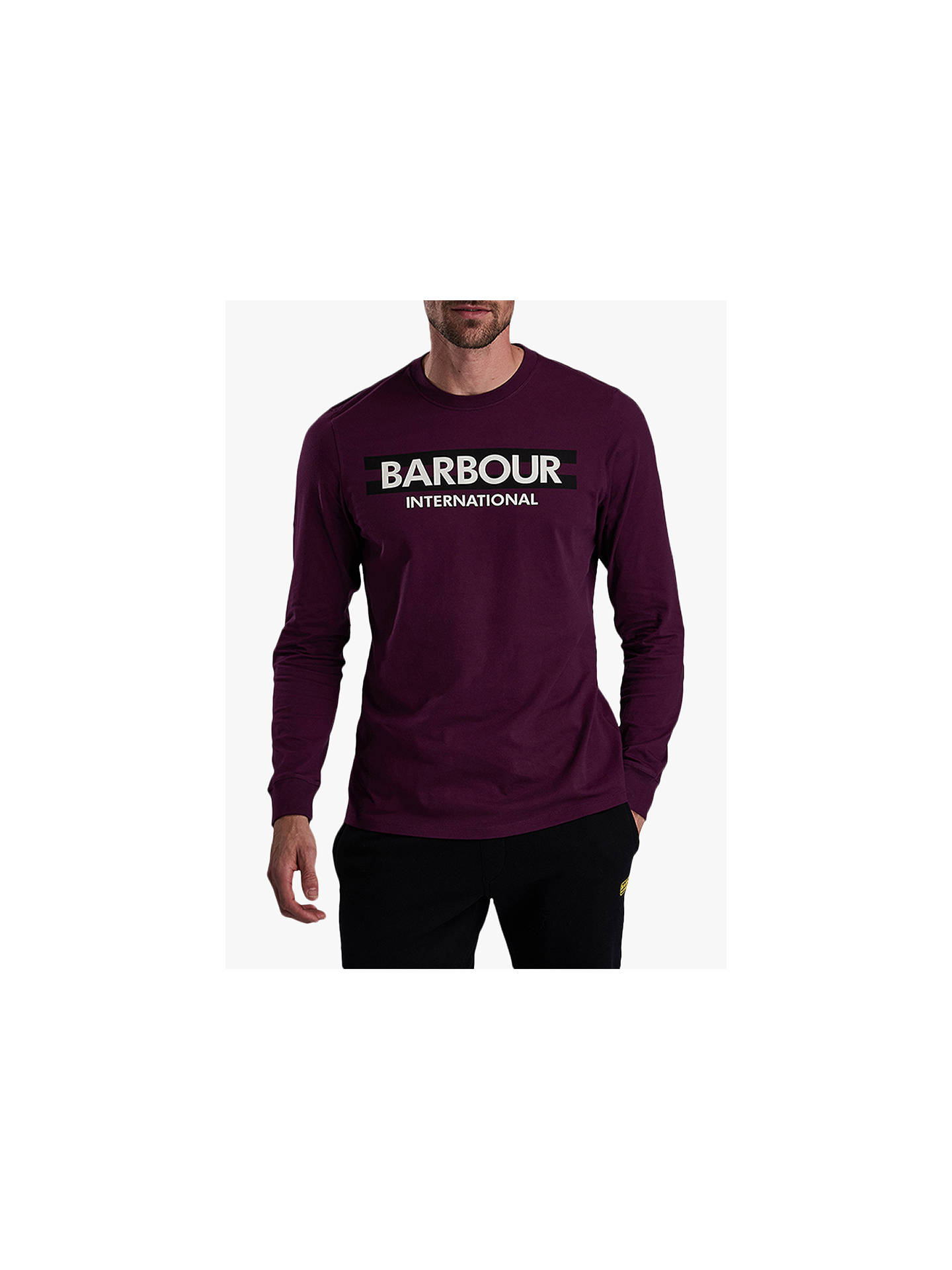 BuyBarbour International Starter Graphic Long Sleeve T-Shirt, Purple, XL Online at johnlewis.com