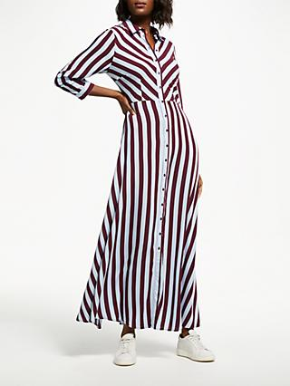 Y.A.S Savanna Long Shirt Dress, Claret/Blue