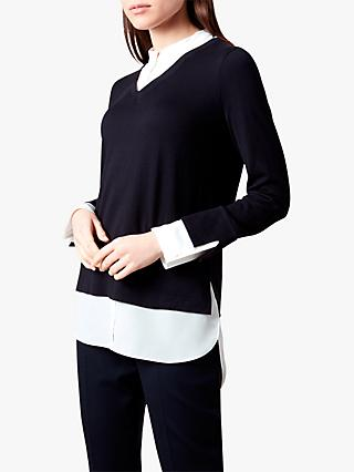Hobbs Macy Cotton Blend V-Neck Sweater, Navy