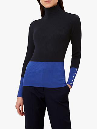 Hobbs Lara Ribbed Roll Neck Jumper, Navy Cobalt