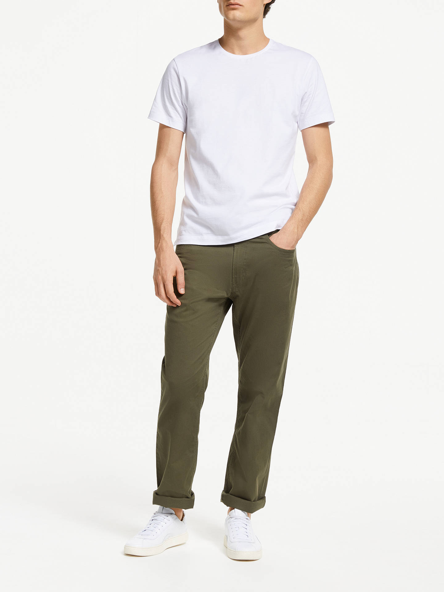 Buy John Lewis & Partners Washed Five Pocket Straight Fit Trousers, Khaki, 36S Online at johnlewis.com