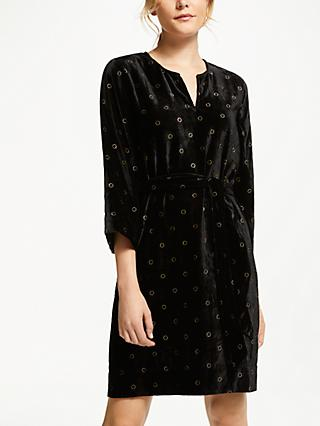 Numph Grisell Velvet Dress, Caviar