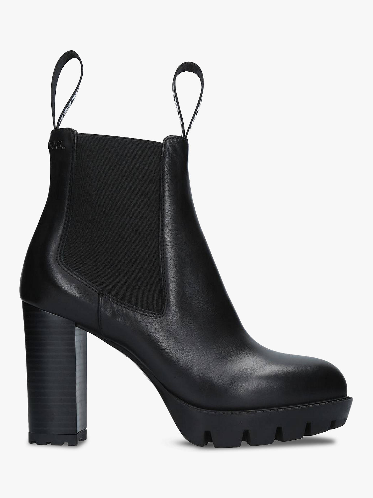 63d8f04b7a3f54 Buy KARL LAGERFELD Voyage Block Heel Platform Ankle Boots, Black Leather, 2  Online at ...