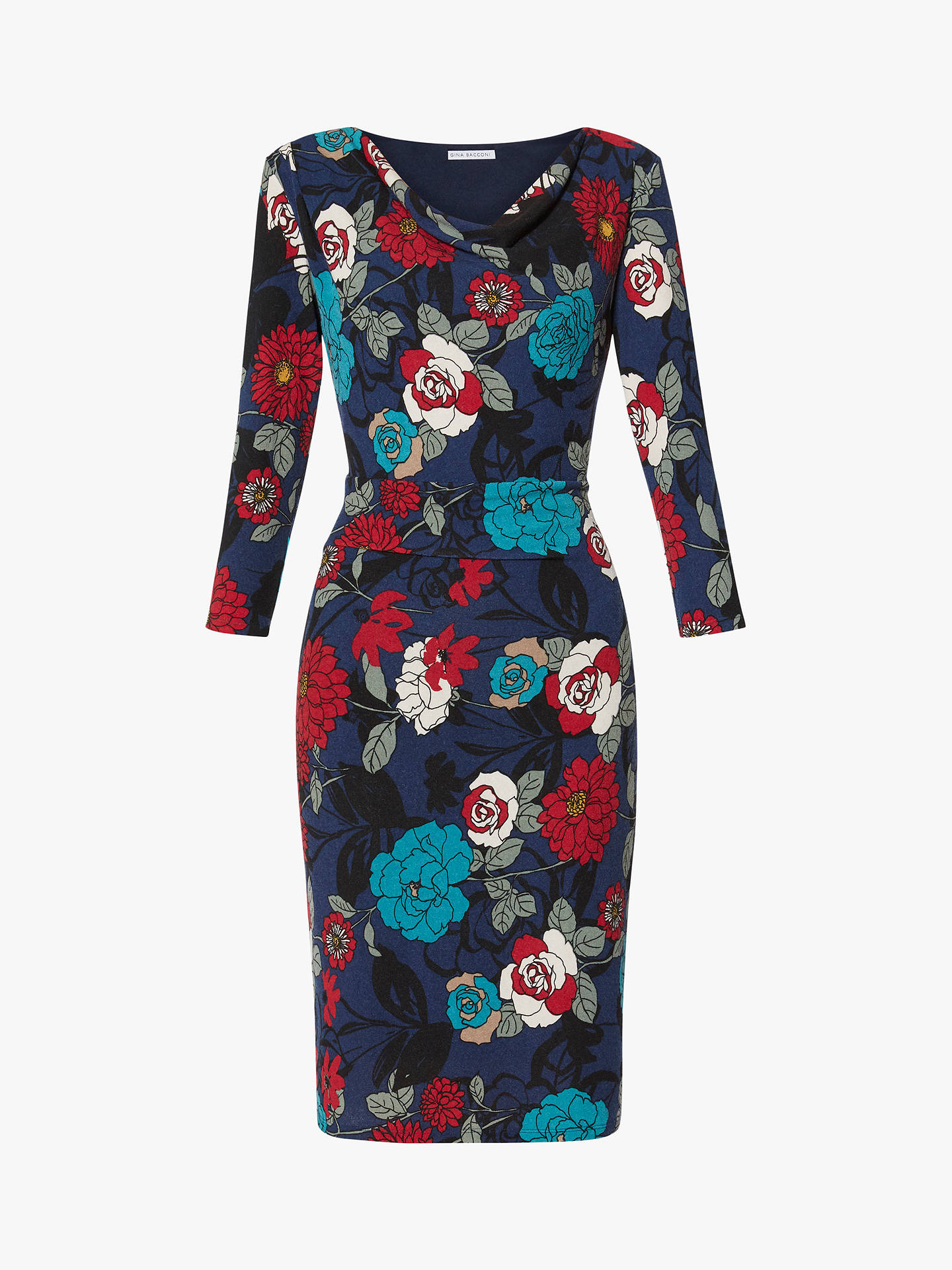 Gina Bacconi Tekla Jersey Dress, Navy/Multi