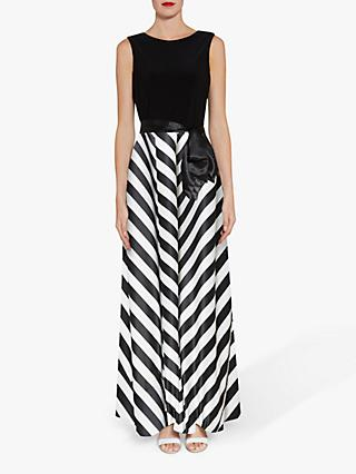 Gina Bacconi Hebe Satin Stripe Maxi Dress, Black