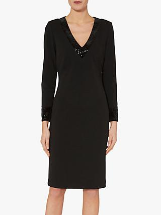 Gina Bacconi Olympia V-Neck Crepe Dress, Black