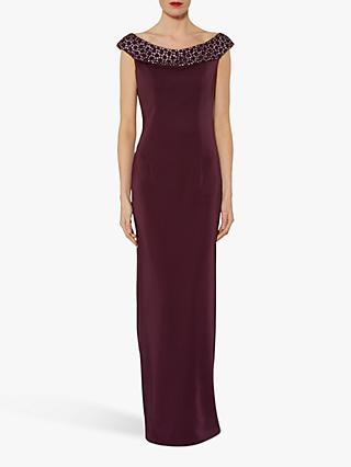 Gina Bacconi Thalia Beaded Collar Maxi Dress