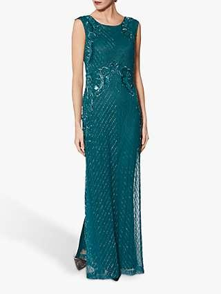 Gina Bacconi Harlow Beaded Maxi Dress, Green