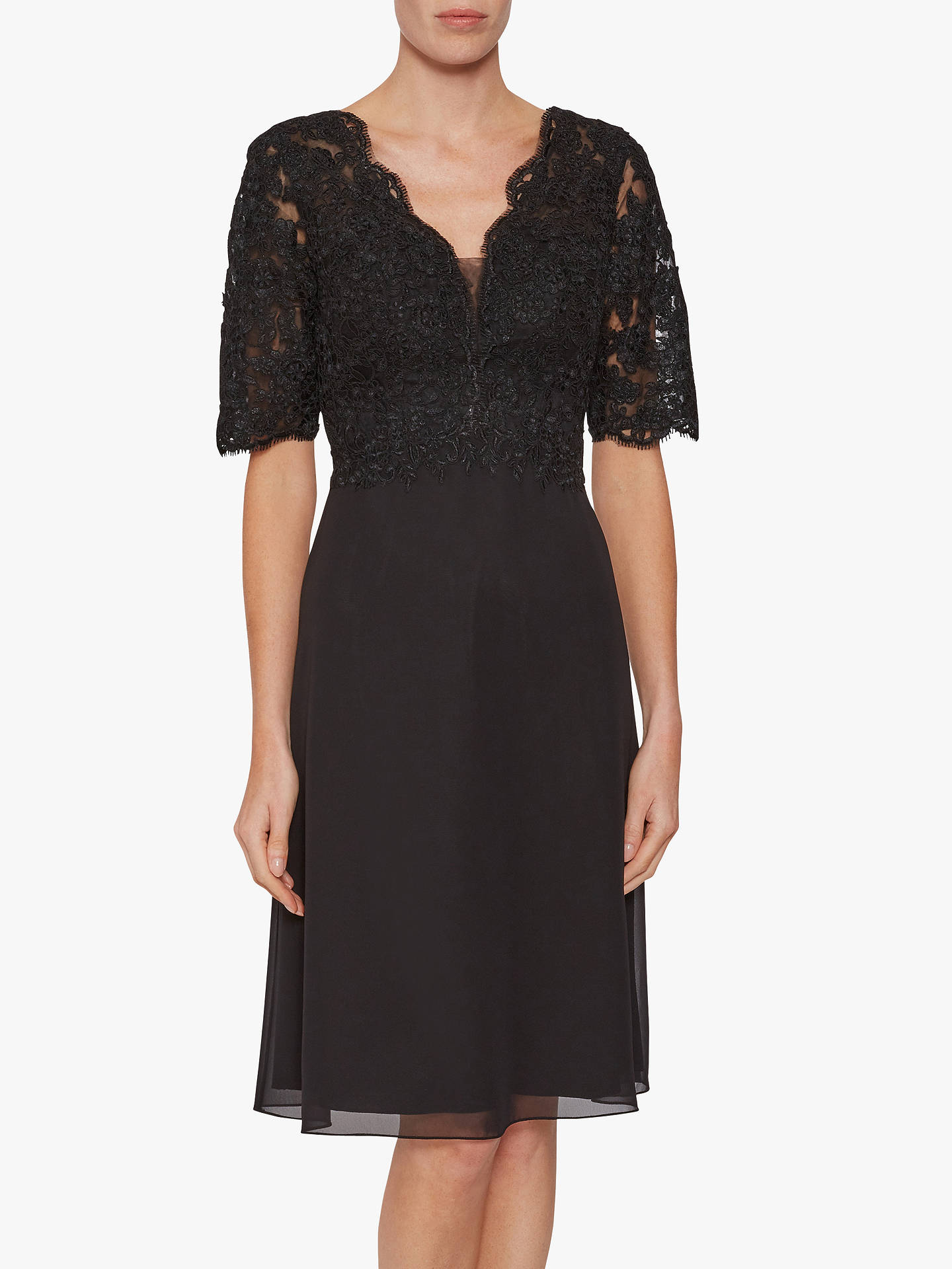 BuyGina Bacconi Fantasia Lace Bodice Dress, Black, 10 Online at johnlewis.com