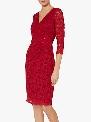 Gina Bacconi Aruna Floral Lace Dress, Red