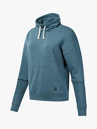Reebok Training Essentials Marble Cowl Neck Sweatshirt, Teal Fog