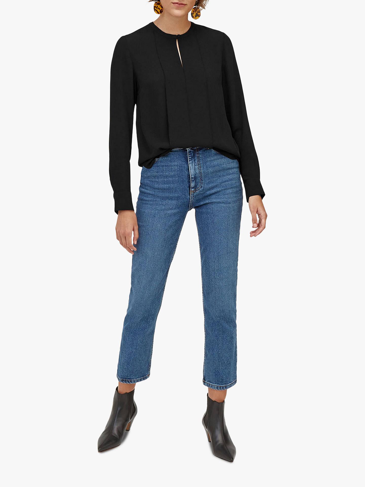 8955c5dea820d6 Buy Warehouse Plain Button Blouse, Black, 6 Online at johnlewis.com ...