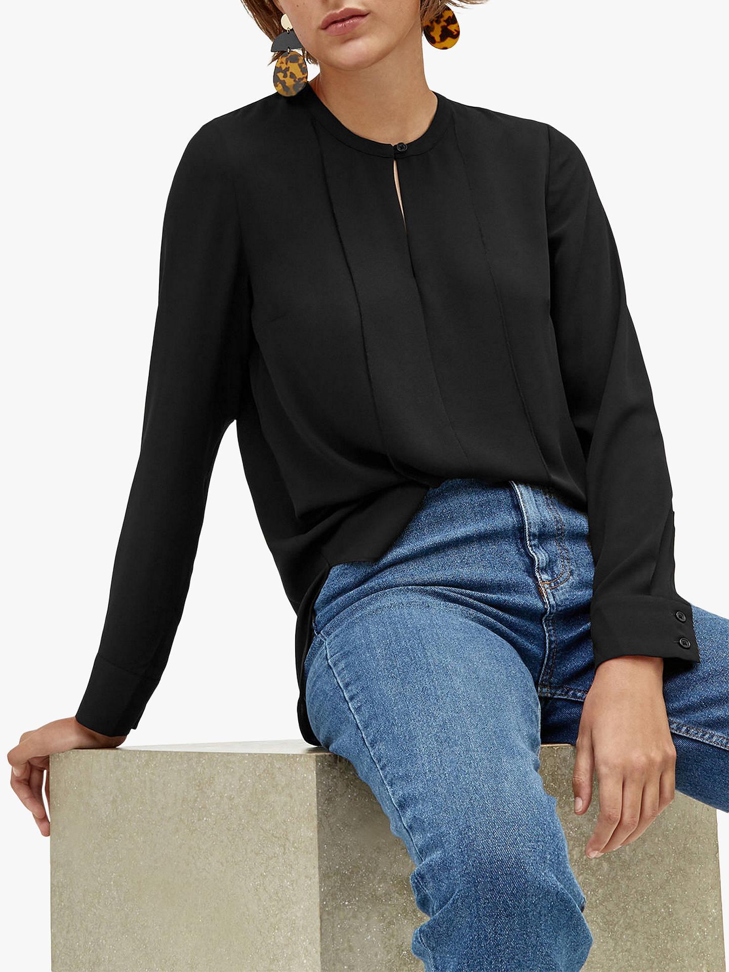 e0f07e5ebe0bf4 ... Buy Warehouse Plain Button Blouse, Black, 6 Online at johnlewis.com