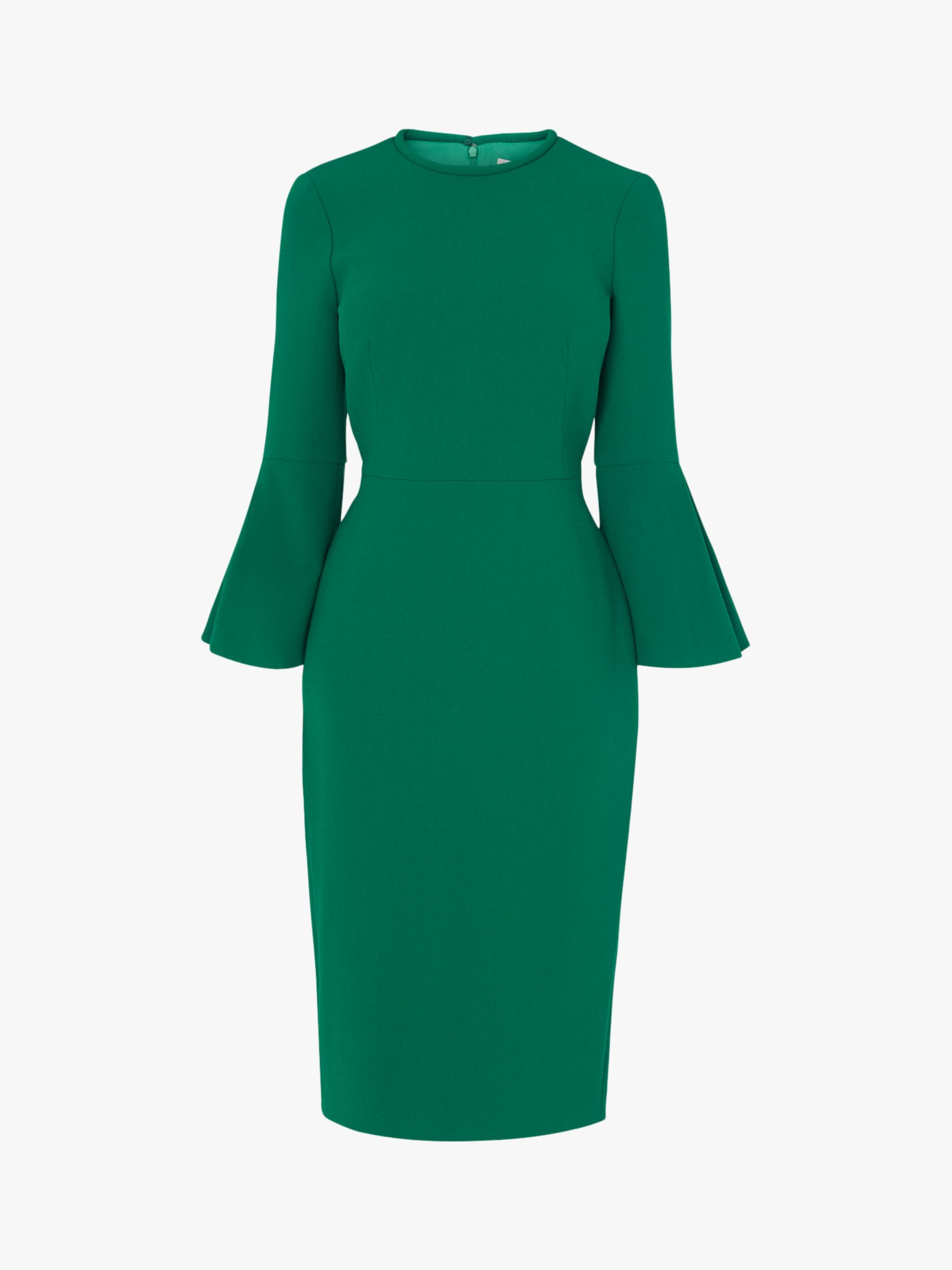 official store competitive price 50% price L.K.Bennett Doris Flute Sleeve Midi Dress, Green at John Lewis ...