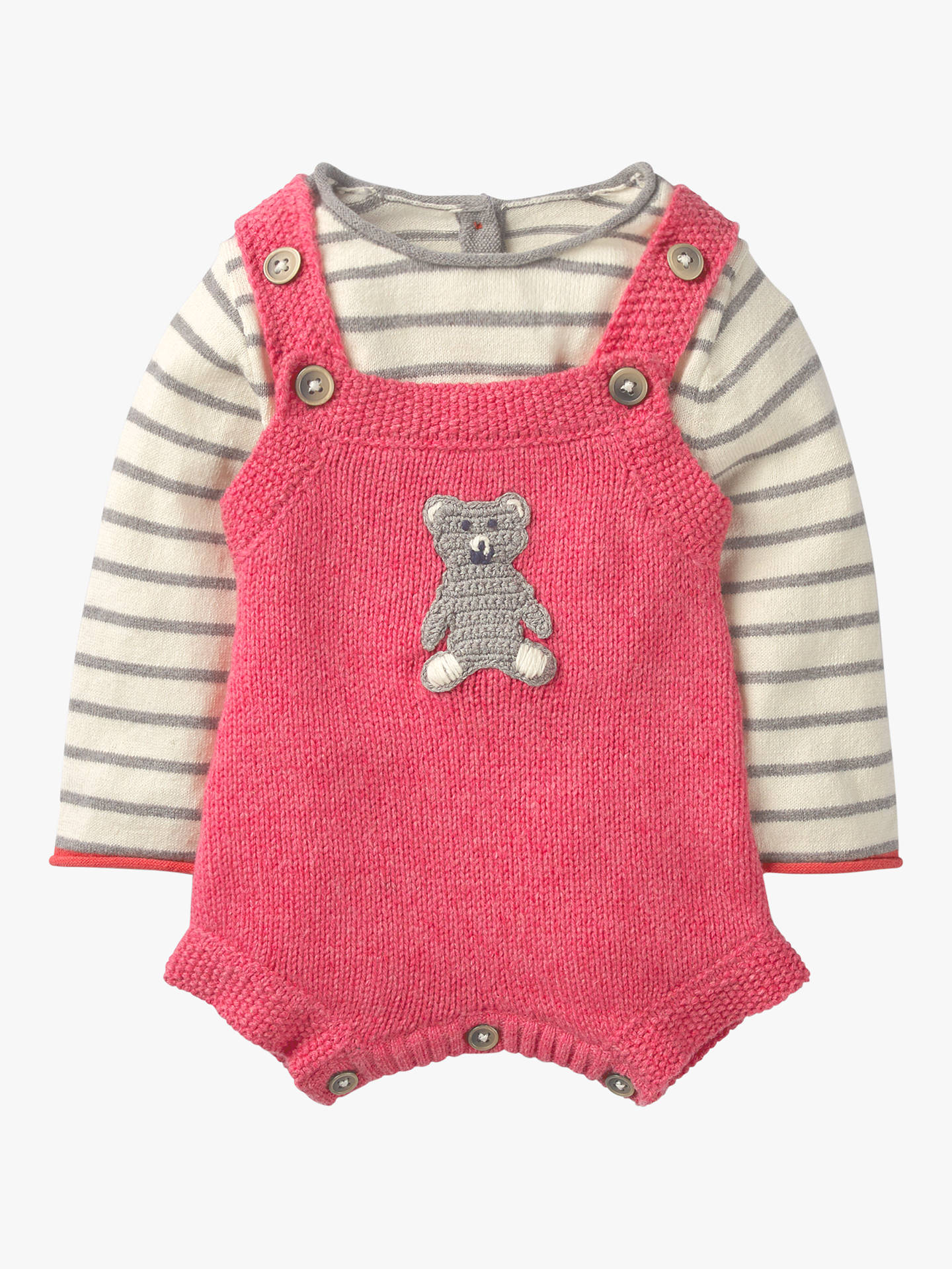 6441652c5 Buy Mini Boden Baby Cosy Knitted Romper, Rosette Pink, 6-12 months Online  ...