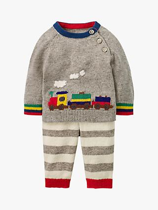Mini Boden Baby Knitted Train Jumper and Legging Set, Grey Marl Rainbow