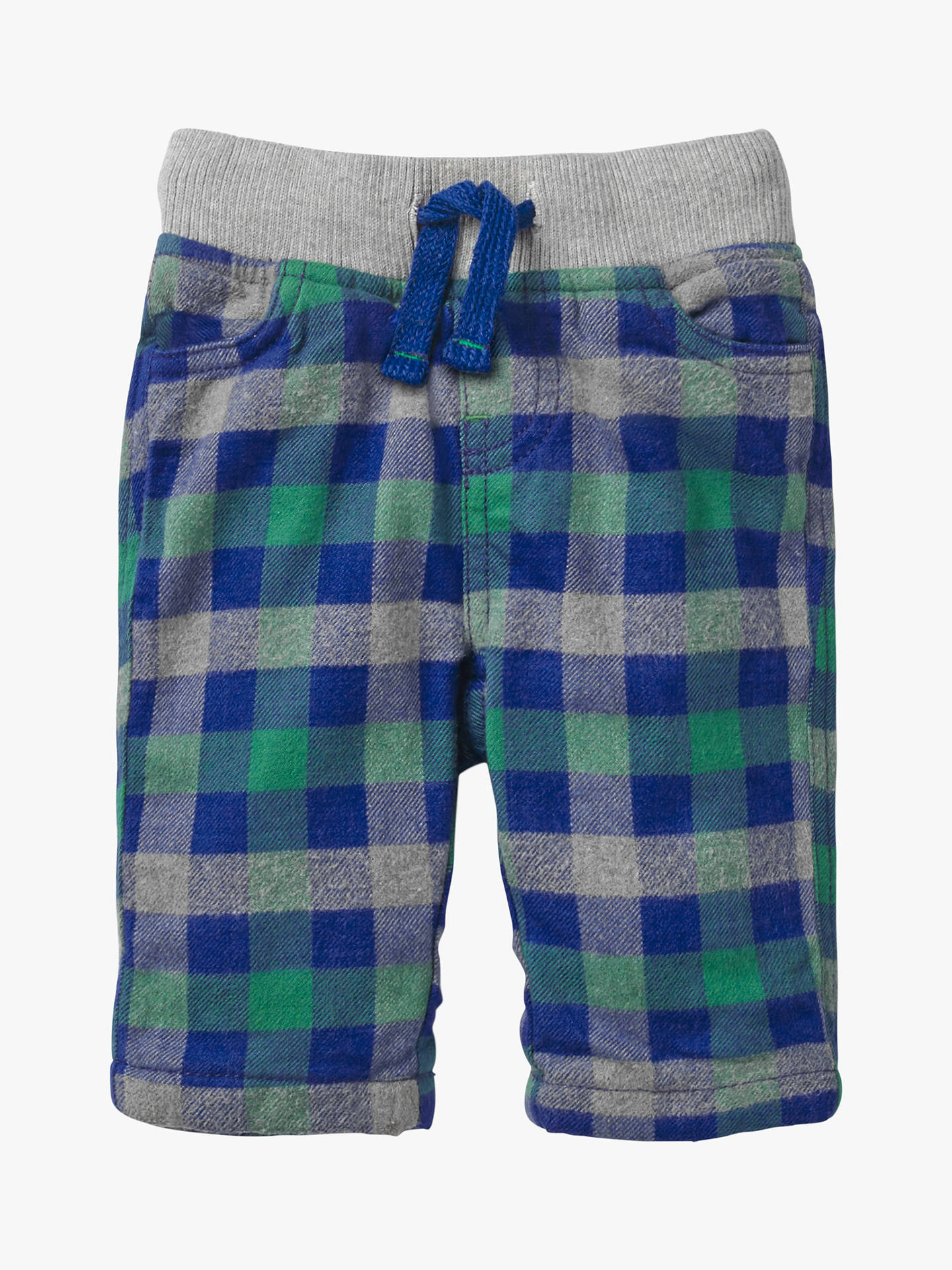 BuyMini Boden Baby Cosy Checked Trousers, Orion Blue/Green, 2-3 years Online at johnlewis.com