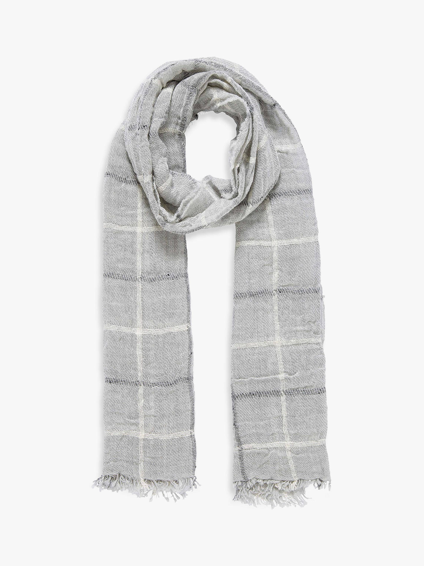 Buy Brora Cashmere Windowpane Stole Scarf, Silver Online at johnlewis.com