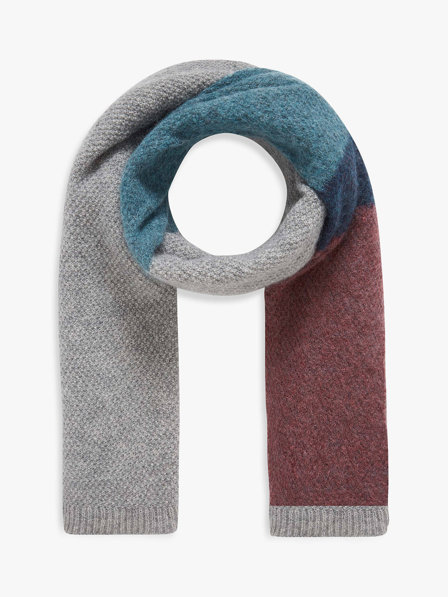 BuyBrora Wool Blend Colour Block Scarf, Silver, One Size Online at johnlewis.com