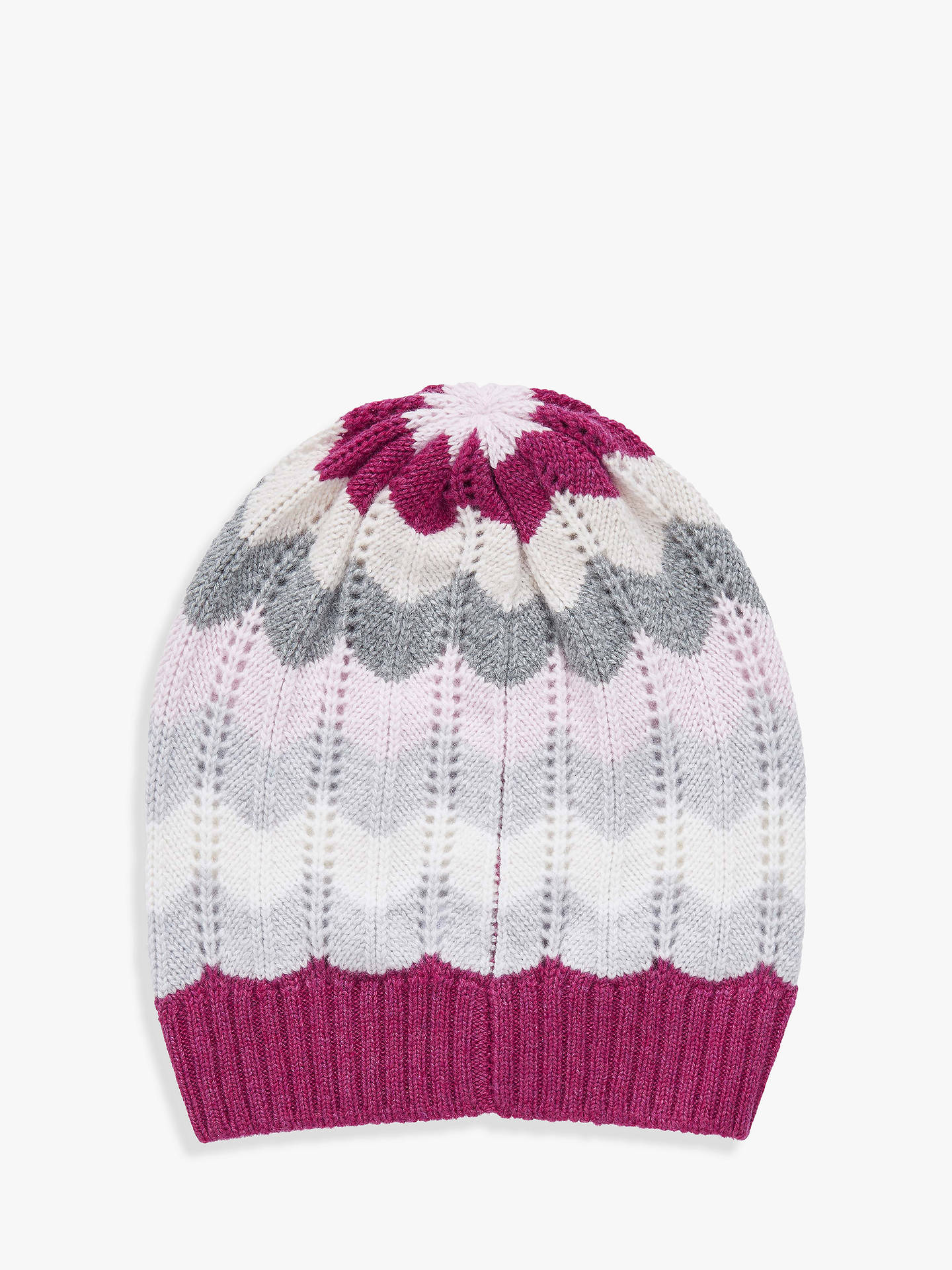 Buy Brora Cashmere Wave Knit Beanie, One Size, Tourmaline Online at johnlewis.com